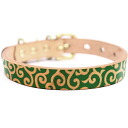Artistic framer graphic leather collar Arabesque green brass solid fittings size SS-L belt width 16 mm ##23018
