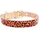 Artistic framer graphic leather collar Arabesque Red brass solid fittings size SS-L belt width 16 mm ##23019