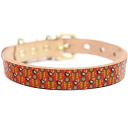 Graphic real leather collar brass pure metal fittings size SS - L belt 16mm in width ##23094 which is Framer art