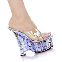 6 inches of high-heeled shoes thickness bottom flower Barak rear wedge sole sandals / import shoes