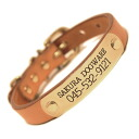 [#A88890] your name collar brass engraving plate with this evoke leather / leather hand-finished brass fitting collar (small dogs, medium dogs) A88890 (SS-L size 3-14 kg) lost 札付