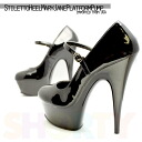 [#SH-DELIGHT-687] Pleaser pleaser high heels trampling / 15 cm / platform pumps / pointy toe and insteps trap / Konan belted and imports shoes and large size /blk/14-16/pumps