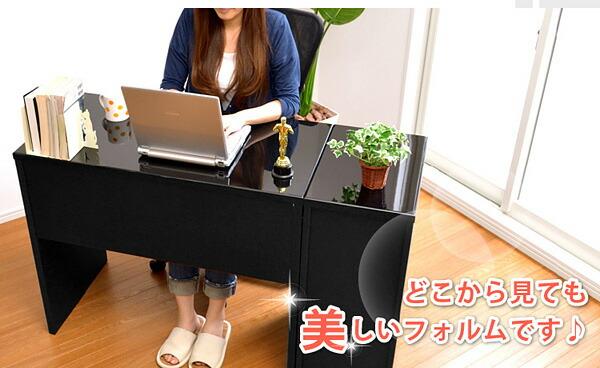《鏡面仕上げ》ハイタイプPCデスク【NOCHE】ノーチェ(2点セット)