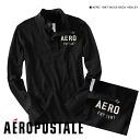 1987 aeroPOS tail men Ron TAERO MOCK-NECK HENLEY black (2071)(S,M,L,XL)( same day shipment, 100% genuine article, regular article, shop buying, men's big size, new work, American casual)