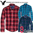 American eagle men casual shirt AE PLAID BUTTON SHIRT (three colors of )(2153-8709)(S,M,L,XL), American casual, shirt, long sleeves, men's vintage, casual (same day shipment, 100% genuine article, regular article, shop buying, men's big size, new work, A