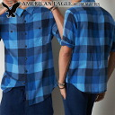 ★ 2014 new fall! American Eagle AE men's flannel shirt AE Plaid Button Down Shirt Blue (S, M, L, XL, XXL) (at more than 10,800 yen,, in large size, 100% genuine, new, cheapest Rakuten to challenge! )
