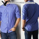 ★ new year 2015! American Eagle AE men's button-down shirts AE Striped Button Down Shirt Blue (0153-8905) (S, M, L, XL, XXL) (at more than 10,800 yen,, in large size, 100% genuine, new, cheapest Rakuten to challenge! )