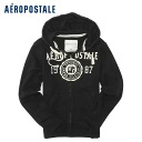 ★ 2014 new fall! Aeropostale mens parka Aero Full-Zip Hoodie black (4530) (S, M, L, XL) (over 10,800 yen, who, in large size, 100% genuine, new, cheapest Rakuten to challenge! )