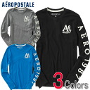 Three colors of aeroPOS tail men Ron T LONG SLEEVE A87 GRAPHIC T (6438)(S,M,L,XL)( same day shipment, 100% genuine article, regular article, shop buying, men's big size, new work, American casual)