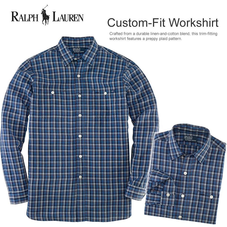 Polo Ralph Lauren men long sleeves casual shirt Custom-Fit Workshirt blue / orange (POLO RALPH LAUREN)(20571006)(S/M/L/XL), American casual, casual shirt, ...