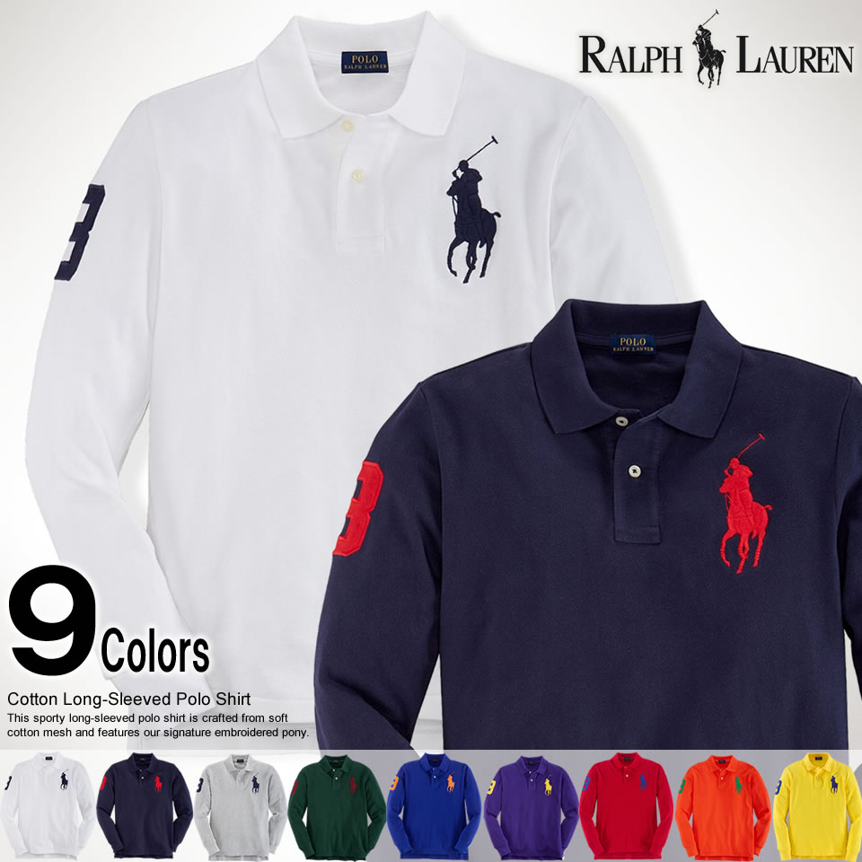 Ralph Lauren White Big Pony Polo Long Sleevd Shirts
