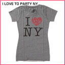 ローカルセレブリ tea women's short sleeve T shirt I LOVE TO PARTY NY Heather grey shopping Marathon, discount, sale, less than half,