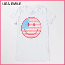 Rakuten champions sale, victory Memorial セールローカルセレブリ tea women's short sleeve T shirt USA SMILE white