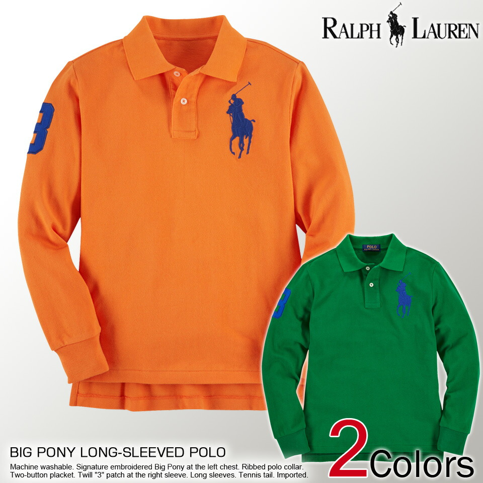 Polo Ralph Lauren boys pony numbering long-sleeved polo shirt BIG PONY LONG-SLEEVED POLO 3-color POLO RALPH LAUREN (65353786) L XL polo shirt lucky5days ...