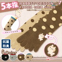 Five five finger rabbit embroidery dot crew sock [antibacterial deodorization] rabbit pattern crew sock rabbit socks animal embroidery rabbits horizontal stripe plain Shin pull crew length crew black gray brown beige finger socks