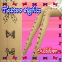Ribbon design TATOO tights 45 denier beige M size Ribbon TATOO stocking vertical line TATTOO tattoo tights stockings tattoo pattern pantyhose sheer tights trend ladies