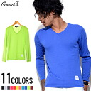 """CavariA plain V ネックカラーロン TEE / 11 colors"" bargain-men's long-sleeved T shirt!"