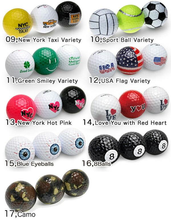 おもしろデザインゴルフボール【エンジョイライフ】プレゼントにも最適。全17タイプ。