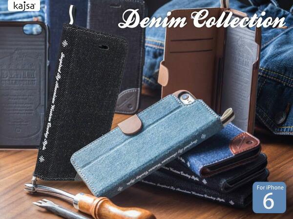 【Kajsa/カイサ】Denimcollection デニムコレクション マルチアングルケース for iPhone6 folio
