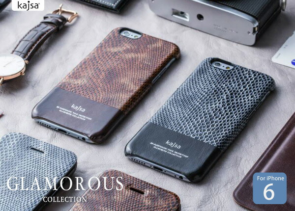 【Kajsa/カイサ】GLAMOROUS COLLECTION backcase for iPhone6(4.7inch)スネークスキン 本革 合成皮革