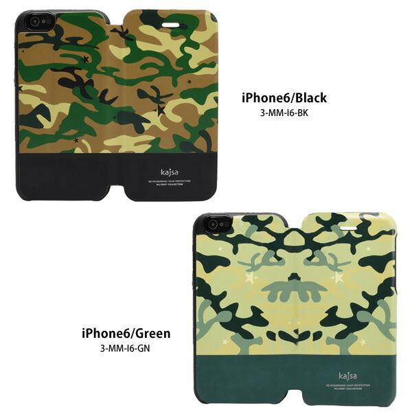 【Kajsa/カイサ】MILITARY COLLECTION folio case for iPhone6(4.7inch)迷彩 ミリタリー