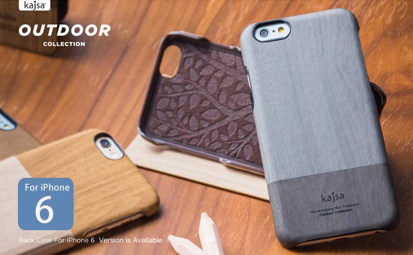 【Kajsa/カイサ】Outdoor COLLECTION backcase for iPhone6(4.7inch)木目 ナチュラル ウッド)