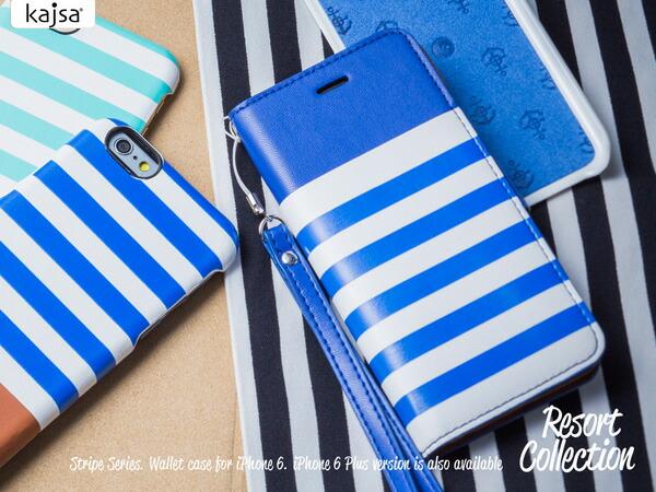 【Kajsa/カイサ】Resort collection リゾートコレクション マルチアングルウォレットケース for iPhone6 ボーダー