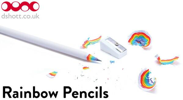 削りカスが虹色のHB鉛筆3本セット