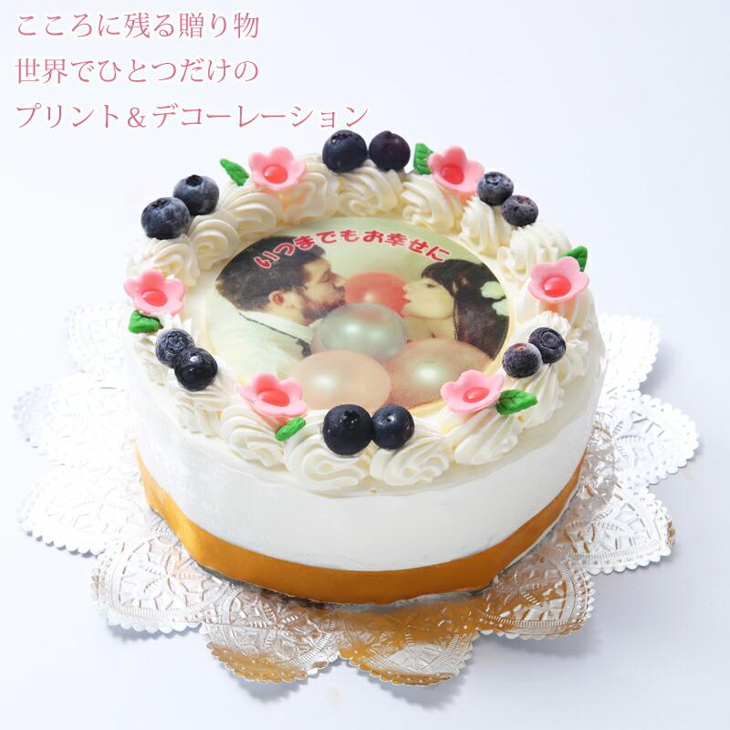 ホール型の写真ケーキ6号サイズです