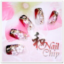 Japanese nail tip red black popular japanese pattern for Double sided tape for wedding dress