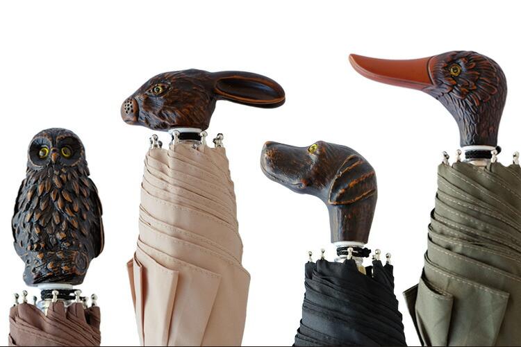 GuydeJean(ギドゥジャン)晴雨兼用折り畳み傘(フランス製軽量UVカット紫外線対策動物ウサギイヌアヒルフクロウ)イメージタイトル2