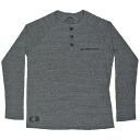 3 CHROME HEARTS UNISEX T-SHIRT LONG SLEEVE HENLEY chrome hearts unisex T-shirt Henry button CH positive CASCADE gray