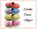 Camelia Tweed outside stitch slippers