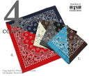 Split bandana made in ハバハンク /HAV-A-HANK(BY calorina /CAROLINA) U.S.A., two-tone bandana