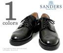 SANDERS United Kingdom-'' black' ' punched Cap Derby shoes