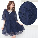 It is navy ・ a cutwork embroidery A-line silk one piece wedding ceremony, a party fur circle date, an invite, a small, big size celebrity ethnic go Japanese Agricultural Standards dress in fall and winter