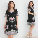 Gorgeous flower embroidery silk A line one piece [dress/party/ファーマル/dating / invited small size / large /S/XL / party / celebrity/ethnic/women's autumn/winter