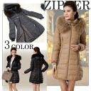 Slim cocoon line down coat with the raccoon fur