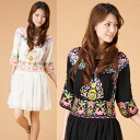 ★Gorgeous flower embroidery silk chiffon one piece ★ Mother's Day / spring / ethnic / Lady's /