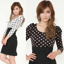 Polka dot print switching Jersey material vampire the Snick / women's / farewell party / graduation ceremony