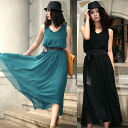 Chiffon flare maxiskirt long one piece ★ ethnic / Lady's /
