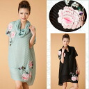 Two points of three-dimensional flower embroidery silk chiffon one piece & slip inner set Mother's Day / spring / ethnic / Lady's /