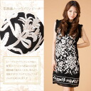 Big gorgeous flower embroidery シルクシフォンノースリブワン pieces size mother's day / spring / ethnic / women's /.