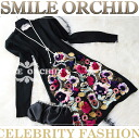 Flower embroidery & solid rose motif knit one piece black, black / New Year meeting / farewell party / graduation ceremony