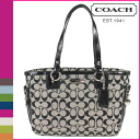 Coach COACH Tote Bag Black x White Gallery signature zipper Womens