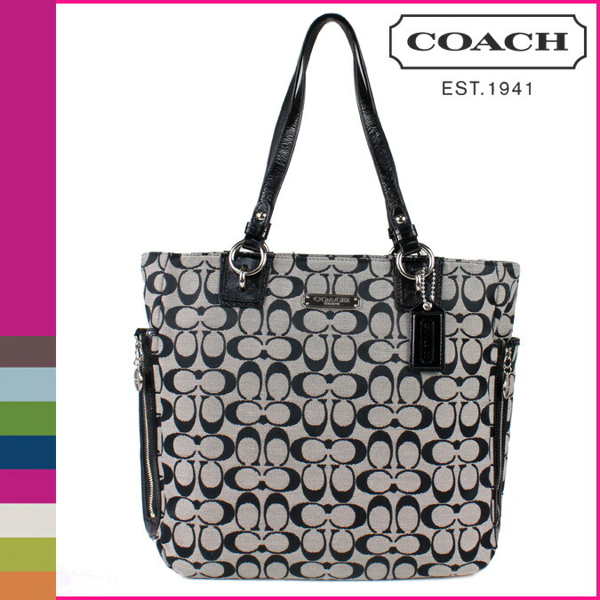 coach womens signature tote bag black and white one size car interior design. Black Bedroom Furniture Sets. Home Design Ideas