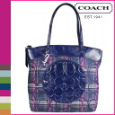Coach COACH Tote multicolor Laura signature striped Tartan ladies