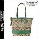 Coach COACH tote bag khaki X green stripe large Lady's