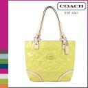 Point 2 x coach COACH tote bag Chartreuse × Tan Peyton embossed patent women's 02P13Dec13_m