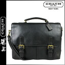 Coach COACH men business bag 2Way black Crosby leather flap briefs